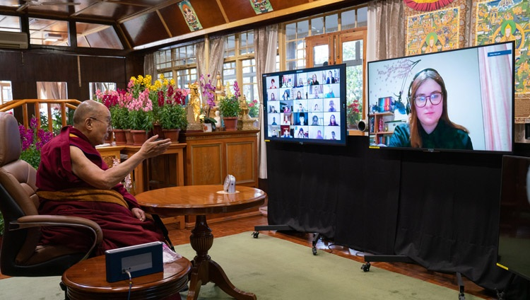 His Holiness the Dalai Lama answering a question from a student from the British School in New Delhi during their conversation on Well-being and Resilience at his residence in Dharamsala, HP, India on January 22, 2021. Photo by Ven Tenzin Jamphel