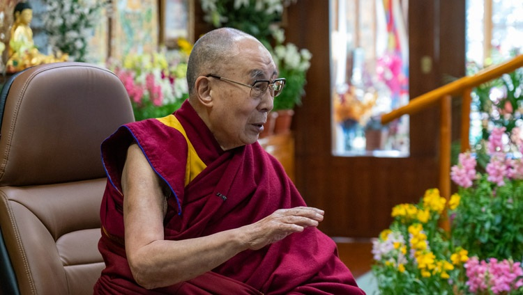 His Holiness the Dalai Lama delivering his opening remarks during the conversation on Kind and Compassionate Leadership from his residence in Dharamsala, HP, India on January 27, 2021. Photo by Ven Tenzin Jamphel