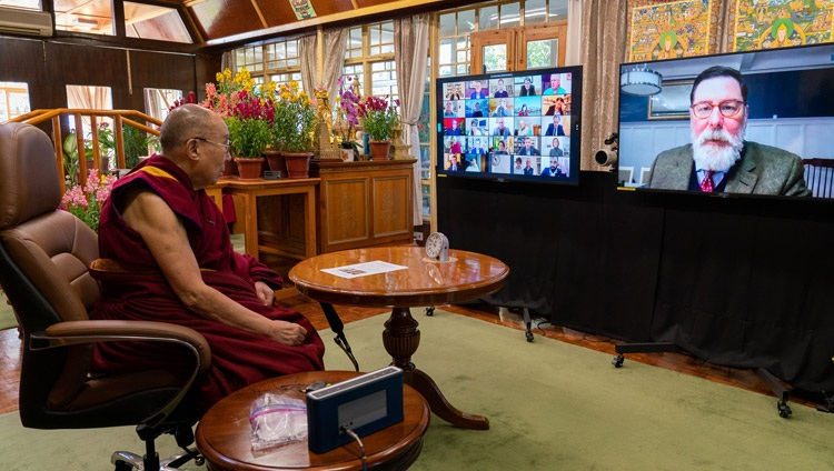 Mayor Bill Peduto, Pittsburgh, USA asking His Holiness the Dalai Lama a question during their online conversation on Kind and Compassionate Leadership from his residence in Dharamsala, HP, India on January 27, 2021. Photo by Ven Tenzin Jamphel