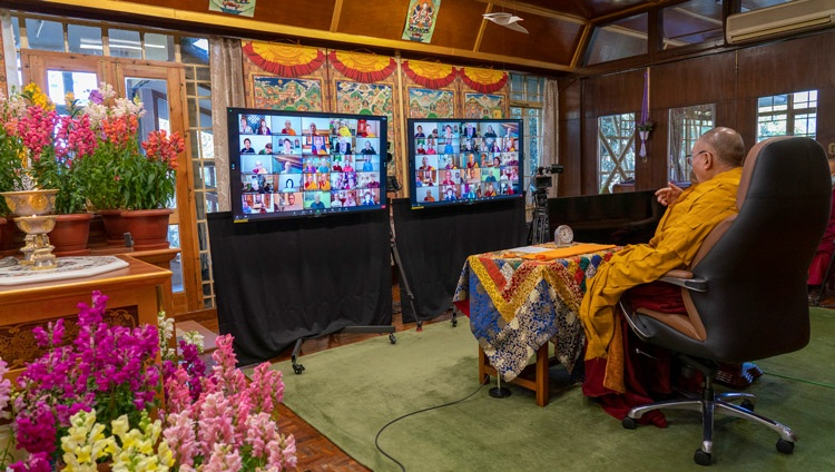 His Holiness the Dalai Lama addressing the virtual audience during his teaching requested by Lama Zopa Rinpoche from his residence in Dharamsala, HP, India on February 8, 2021. Photo by Ven Tenzin Jamphel