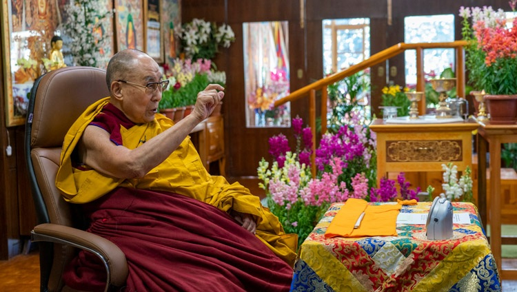 His Holiness the Dalai Lama speaking during his online teaching from his residence in Dharamsala, HP, India on February 8, 2021. Photo by Ven Tenzin Jamphel
