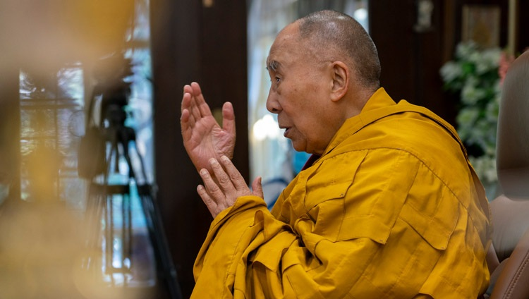 """His Holiness the Dalai Lama commenting on the the text """"Recognizing My Mother - An Experiential Song on the View"""" during his online teaching from his residence in Dharamsala, HP, India on February 8, 2021. Photo by Ven Tenzin Jamphel"""