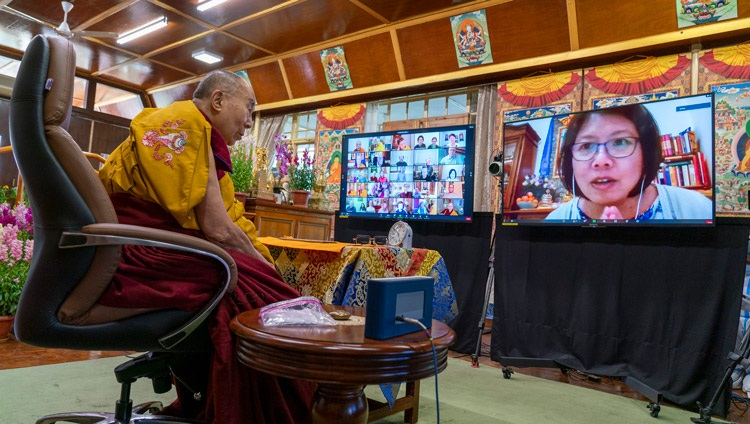 A member of the virtual audience asking His Holiness the Dalai Lama a question during his online teaching from his residence in Dharamsala, HP, India on February 8, 2021. Photo by Ven Tenzin Jamphel