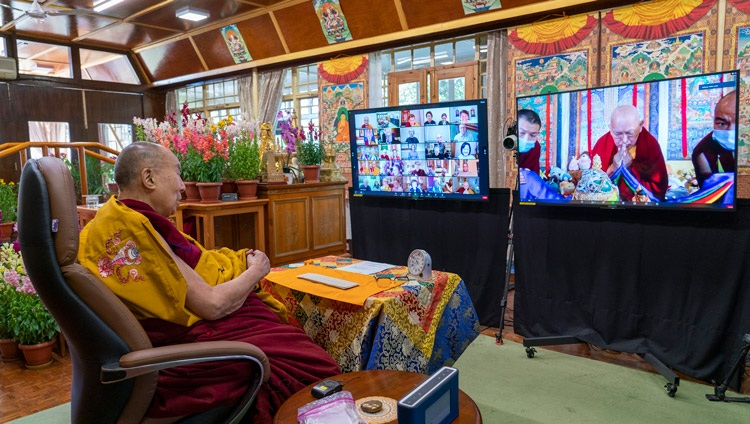 Lama Zopa Rinpoche thanking His Holiness the Dalai Lama at the conclusion of his online teaching from his residence in Dharamsala, HP, India on February 8, 2021. Photo by Ven Tenzin Jamphe