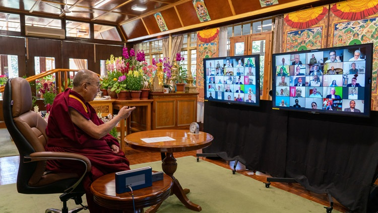 His Holiness the Dalai Lama addressing the virtual audience during his talk on Empathy and Compassion in Policing from his residence in Dharamsala, HP, India on February 17, 2021. Photo by Ven Tenzin Jamphel