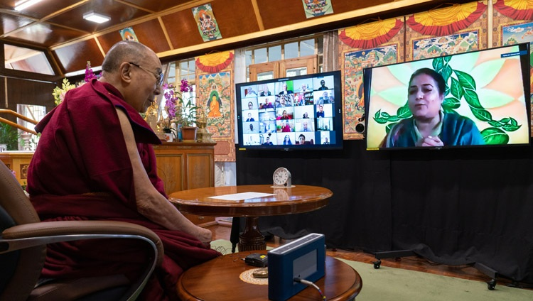 A member of the virtual audience asking His Holiness the Dalai Lama a question during his conversation with members of the Indian Police Foundation from his residence in Dharamsala, HP, India on February 17, 2021. Photo by Ven Tenzin Jamphel
