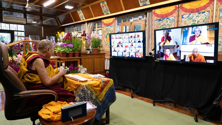 His Holiness the Dalai Lama addressing the virtual audience during his teachings on the full-moon day of the Great Prayer Festival online from his residence in Dharamsala, HP, India on February 27, 2021. Photo by Ven Tenzin Jamphel