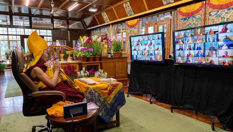 His Holiness the Dalai Lama joining in closing prayers at the conclusion of his teachings on the full-moon day of the Great Prayer Festival online from his residence in Dharamsala, HP, India on February 27, 2021. Photo by Ven Tenzin Jamphel