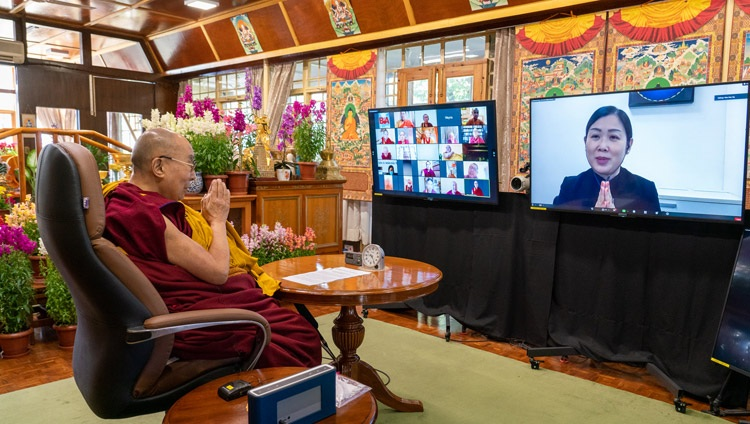 Ms Ng Wee Nee from the Tibetan Buddhist Centre of Singapore opening the proceedings of the International Conference on the Three Trainings in the Pali and Sanskrit Traditions of Buddhism on March 5, 2021. Photo by Ven Tenzin Jamphel