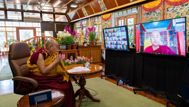 Most Ven Dr Dammapiya - Secretary General of International Buddhist Confederation (India) offering his introductory remarks at the online International Conference on the Three Trainings in the Pali and Sanskrit Traditions of Buddhism on March 5, 2021. Photo by Ven Tenzin Jamphel