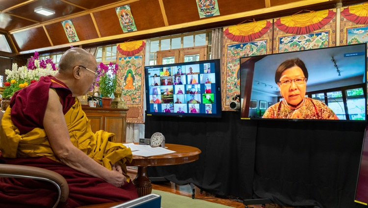 A member of the virtual audience asking His Holiness the Dalai Lama a question after his inaugural address for the International Conference on the Three Trainings in the Pali and Sanskrit Traditions of Buddhism on March 5, 2021. Photo by Ven Tenzin Jamphel