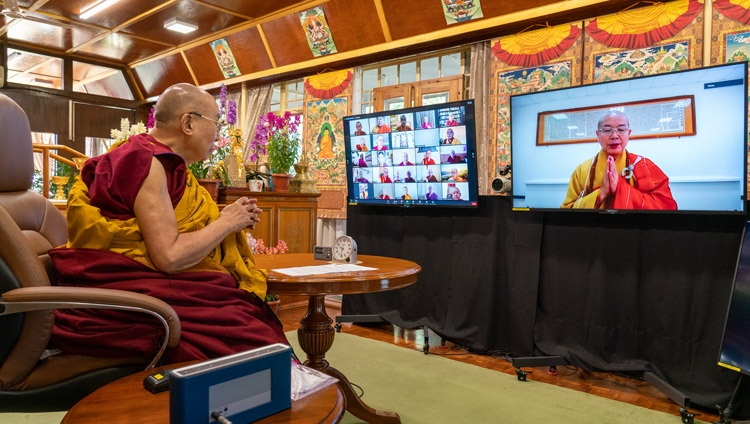 Most Ven Bhikshu Jing Yao, Chairman of Buddhist Association of the Republic of China (Taiwan) delivering his presentation online during the inaugural session of the International Conference on the Three Trainings in the Pali and Sanskrit Traditions of Buddhism on March 5, 2021. Photo by Ven Tenzin Jamphel