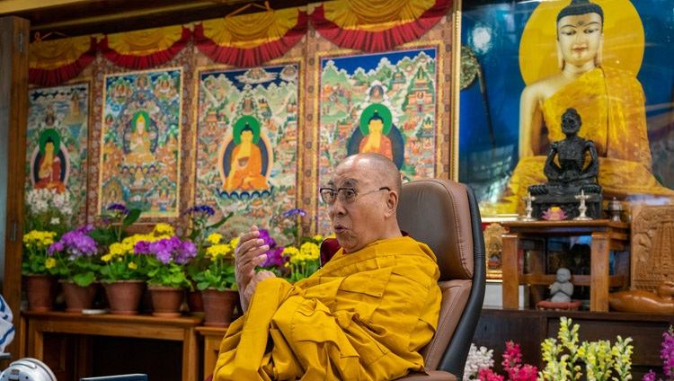 His Holiness the Dalai Lama speaking online from his residence in Dharamsala, HP, India during the opening session of the International Conference on the Three Trainings in the Pali and Sanskrit Traditions of Buddhism on March 5, 2021. Photo by Ven Tenzin Jamphel