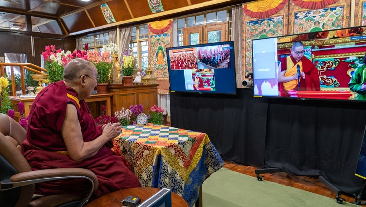 Lamiin Gegeen Rinpoché offering greetings to His Holiness the Dalai Lama at the start of his talk on Buddhism and Science online from his residence in Dharamsala, HP, India on March 11, 2021. Photo by Ven Tenzin Jamphel