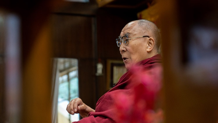 His Holiness the Dalai Lama addressing the virtual audience of Mongolian youth during his talk on Buddhism and Science from his residence in Dharamsala, HP, India on March 11, 2021. Photo by Ven Tenzin Jamphel