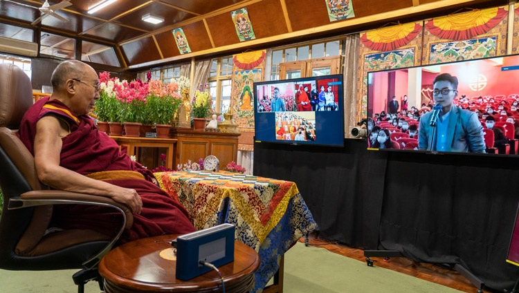 A member of the audience in Mongolian asking His Holiness the Dalai a question during his talk on Buddhism and Science online from his residence in Dharamsala, HP, India on March 11, 2021. Photo by Ven Tenzin Jamphel