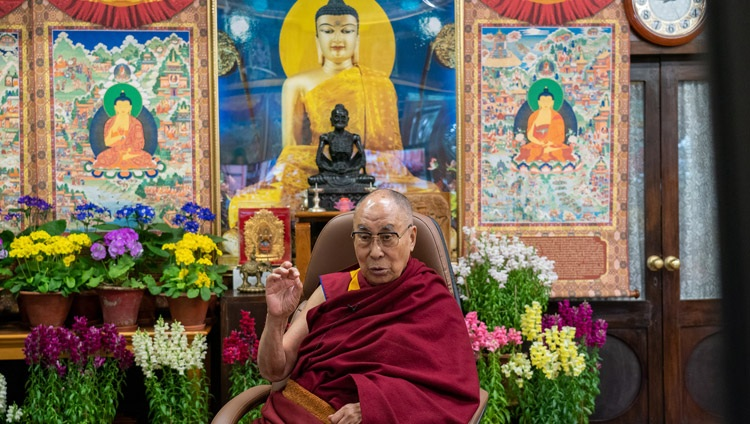His Holiness the Dalai Lama speaking on Buddhism and Science to an online audience of Mongolian youth from his residence in Dharamsala, HP, India on March 11, 2021. Photo by Ven Tenzin Jamphel