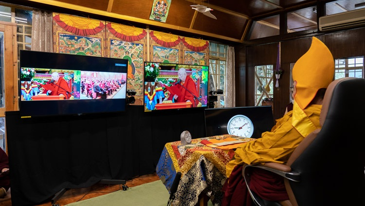 The Khamba Lama paying homage to His Holiness the Dalai Lama and offering greetings to him on behalf of the monastery and all the monks and nuns of Mongolia at the start of the first day of online teachings from His Holiness's residence in Dharamsala, HP, India on March 12, 2021. Photo by Ven Tenzin Jamphel