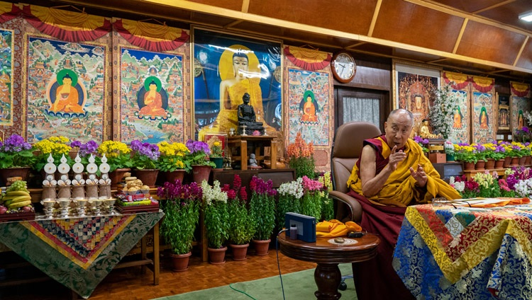 His Holiness the Dalai Lama addressing the virtual audience on the first day of his online teachings requested by Mongolians from his residence in Dharamsala, HP, India on March 12, 2021. Photo by Ven Tenzin Jamphel