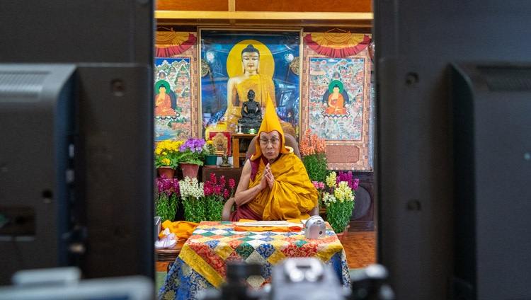 His Holiness the Dalai Lama speaking to the virtual audience in Mongolia on the final day of online teachings from his residence in Dharamsala, HP, India on March 13, 2021. Photo by Ven Tenzin Jamphel