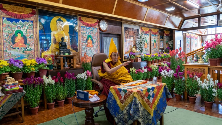 His Holiness the Dalai Lama addressing the virtual audience on the final day of online teaching requested by Mongolians online from his residence in Dharamsala, HP, India on March 13, 2021. Photo by Ven Tenzin Jamphel