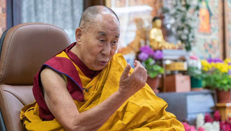 His Holiness the Dalai Lama commenting on Tsongkhapa's 'Three Principal Aspects of the Path' during his online teaching from his residence in Dharamsala, HP, India on March 13, 2021. Photo by Ven Tenzin Jamphel