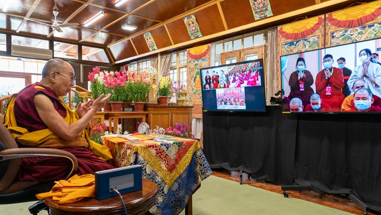 His Holiness the Dalai Lama answering questions from the virtual audience in Mongolia on the final day of online teachings from his residence in Dharamsala, HP, India on March 13, 2021. Photo by Ven Tenzin Jamphel
