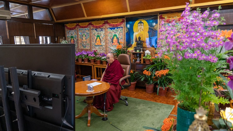 His Holiness the Dalai Lama answering questions from the audience during his interaction with Russian university students online from his residence in Dharamsala, HP, India on March 29, 2021. Photo by Ven Tenzin Jamphel