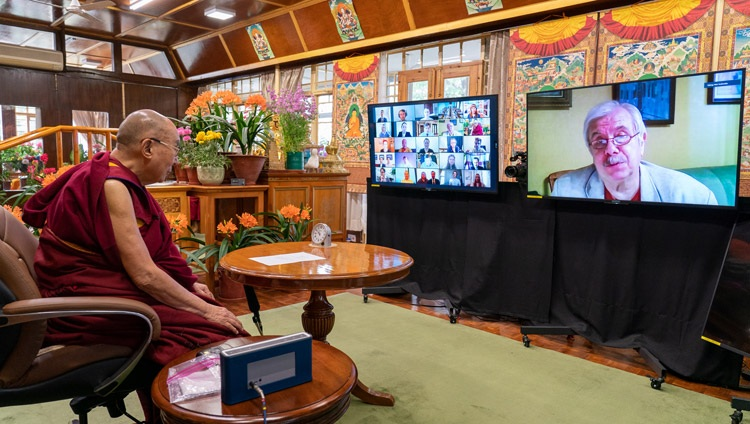 Prof Nikolai Yankovski, Member of the Russian Academy of Sciences, introducing the program with students from Russian universities and His Holiness the Dalai Lama from his residence in Dharamsala, HP, India on March 29, 2021. Photo by Ven Tenzin Jamphel