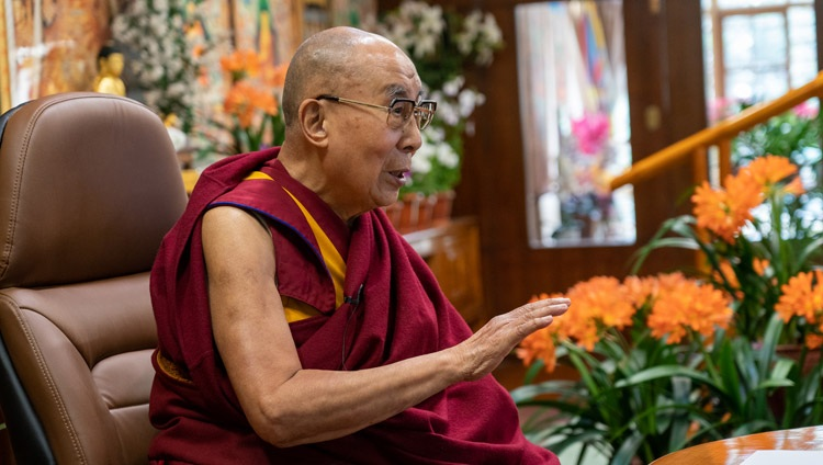 "His Holiness the Dalai Lama speaking on ""Our World in a Time of Change"" to students from Russian universities online from his residence in Dharamsala, HP, India on March 29, 2021. Photo by Ven Tenzin Jamphel"