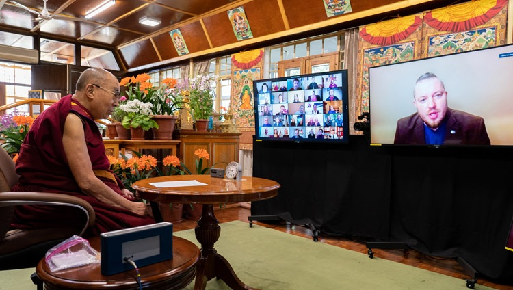 Davis Stalts, former MP and Riga City Council member in Latvia asking His Holiness the Dalai Lama a question during his talk on Morals and Ethics - Today and Tomorrow, online from his residence in Dharamsala, HP, India on April 2, 2021. Photo by Ven Tenzin Jamphel.