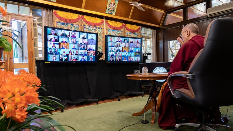 Members of organizations from the Baltic States listening to His Holiness the Dalai Lama speaking online from his residence in Dharamsala, HP, India on April 2, 2021. Photo by Ven Tenzin Jamphel.