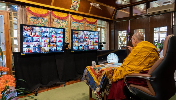 His Holiness the Dalai Lama speaking to the virtual audience from Italy during his teachings requested by the Italian Buddhist Union from his residence in Dharamsala, HP,India on April 7, 2021. Photo by Ven Tenzin Jamphel