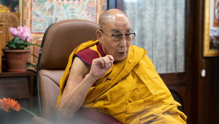 His Holiness the Dalai Lama speaking on the Four Noble Truths and the Two Truths during his online teaching requested by the Italian Buddhist Union from his residence in Dharamsala, HP,India on April 7, 2021. Photo by Ven Tenzin Jamphel