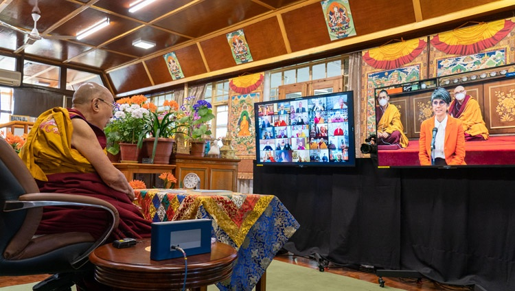 A member of the virtual audience from Italy asking His Holiness the Dalai Lama a question during his teachings requested by the Italian Buddhist Union online from his residence in Dharamsala, HP,India on April 7, 2021. Photo by Ven Tenzin Jamphel