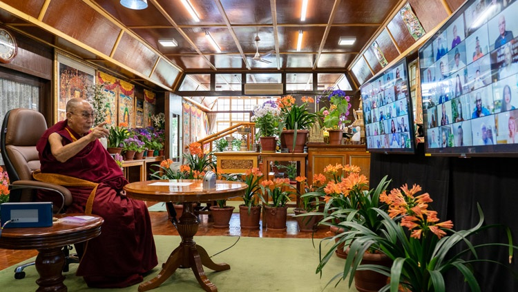 His Holiness the Dalai Lama answering questions from guests of the French 'Be the Love' programme and the Canadian 'One Better World Collective' online from his residence in Dharamsala, HP, India on April 12, 2021. Photo by Ven Tenzin Jamphel