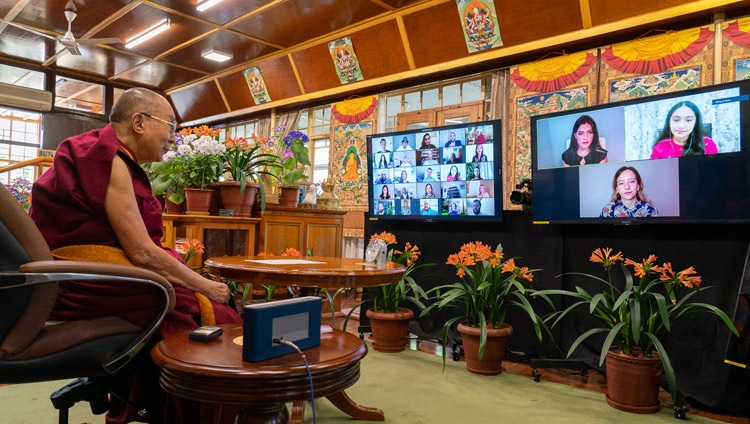 Members of the Young Activist Group introducing themselves to His Holiness the Dalai Lama during their interaction online from his residence in Dharamsala, HP, India on April 12, 2021. Photo by Ven Tenzin Jamphel