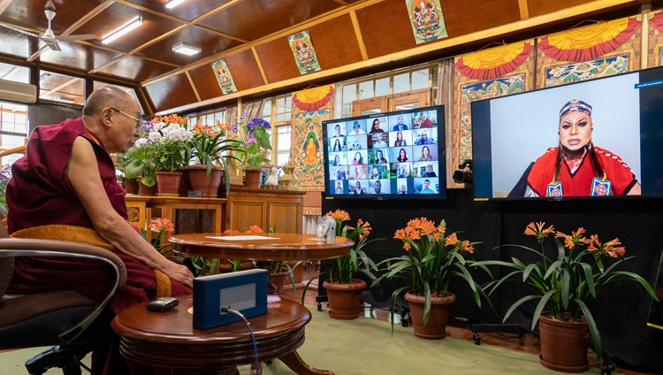 Massey Whiteknife, a member of the Mikisew Cree First Nation, asking His Holiness the Dalai Lama a question during the discussion online from his residence in Dharamsala, HP, India on April 12, 2021. Photo by Ven Tenzin Jamphel