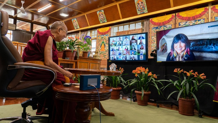 His Holiness the Dalai Lama answering a question from Veteran singer and pacifist Buffy Sainte-Marie online from his residence in Dharamsala, HP, India on April 12, 2021. Photo by Ven Tenzin Jamphel