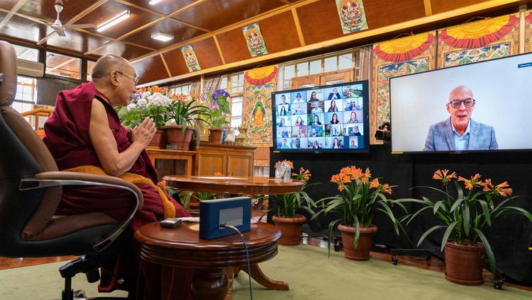 Ian Speirs of the One Better World Collective introducing the question and answer session with groups from among the guests of the French 'Be the Love' programme and the Canadian 'One Better World Collective' online from His Holiness the Dalai Lama's residence in Dharamsala, HP, India on April 12, 2021. Photo by Ven Tenzin Jamphel