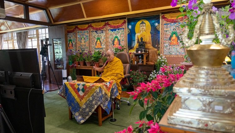 His Holiness the Dalai Lama speaking to the virtual audience during his online teaching on the 'Heart Sutra' from his residence in Dharamsala, HP, India on May 1, 2021. Photo by Ven Tenzin Jamphel