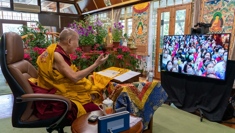 His Holiness the Dalai Lama commenting on the 'Heart Sutra' during his online teachings for a group in Taiwan from his residence in Dharamsala, HP, India on May 1, 2021. Photo by Ven Tenzin Jamphel