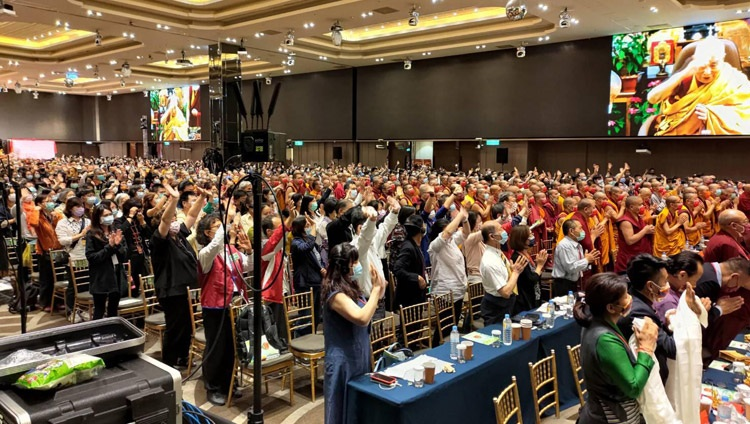 The audience in Taipei, Taiwan, thanking His Holiness the Dalai Lama for his online teaching from his residence in Dharamsala, HP, India on May 1, 2021. Photo by Ven Tenzin Jamphel