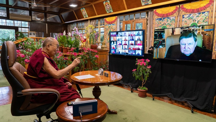 His Holiness the Dalai Lama responding to a question from Prof Svyatoslav Medvedev of the Russian Academy of Sciences and founder of the Institute of the Human Brain online from his residence in Dharamsala, HP, India on May 5, 2021. Photo by Ven Tenzin Jamphel