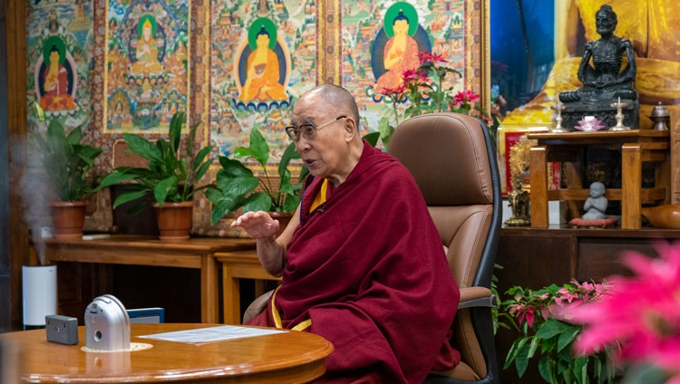 His Holiness the Dalai Lama answering questions from Russian scientists during their dialogue online from his residence in Dharamsala, HP, India on May 5, 2021. Photo by Ven Tenzin Jamphel