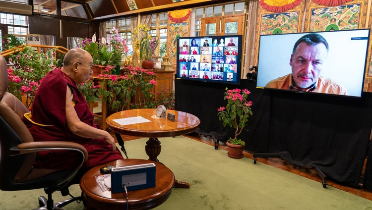 Konstantin Anokhin, Director of the Institute for Advanced Brain Studies, MSU, one of the scientists asking His Holiness the Dalai Lama a question during their online dialogue on May 5, 2021. Photo by Ven Tenzin Jamphel