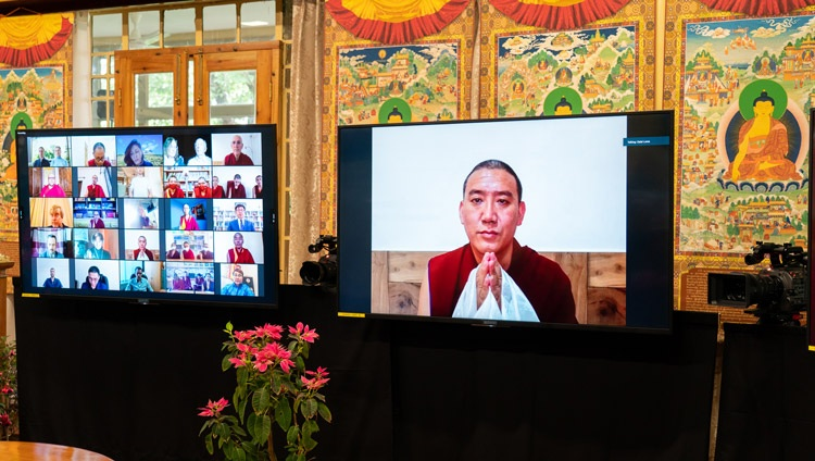 Lobsang Phuntsok, a monk-researcher from Sera Jé Monastery in India listening as His Holiness the Dalai Lama answers his question during their online dialogue on May 5, 2021. Photo by Ven Tenzin Jamphel
