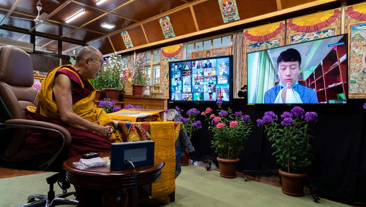 A member of the virtual audience asking His Holiness the Dalai Lama a question on the first day of the teachings for Tibetan Youth online from his residence in Dharamsala, HP, India on June 1, 2021. Photo by Ven Tenzin Jamphel