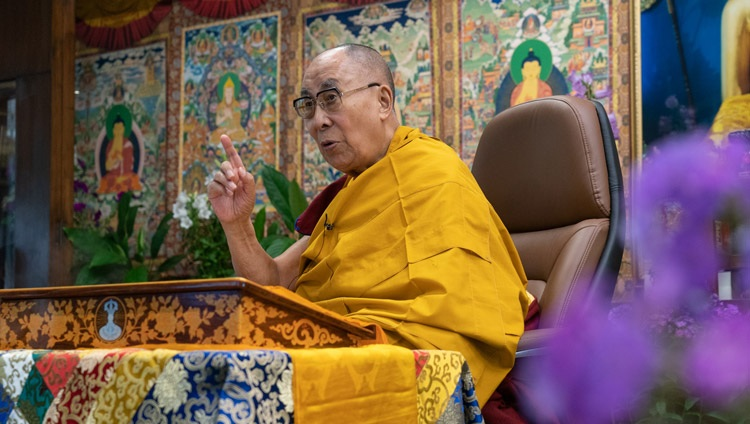 """His Holiness the Dalai Lama commenting on Tsongkhapa's """"Destiny Fulfilled"""" on the first day of his teachings for Tibetan youth online from his residence in Dharamsala, HP, India on June 1, 2021. Photo by Ven Tenzin Jamphel"""