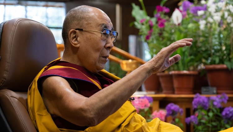 His Holiness the Dalai Lama delivering his introductory remarks on the first day of his teachings for Tibetan youth online from his residence in Dharamsala, HP, India on June 1, 2021. Photo by Ven Tenzin Jamphel